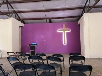 empty chairs in the new church building